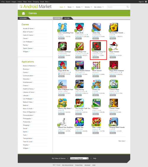 Android Market - Games Category - Free - Parking Frenzy 7th - 5th Mar'12