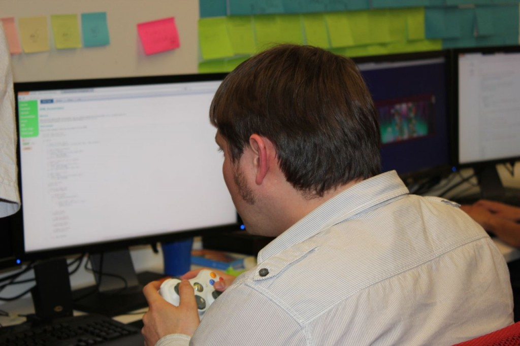 Justin engaged in the Hello World game.