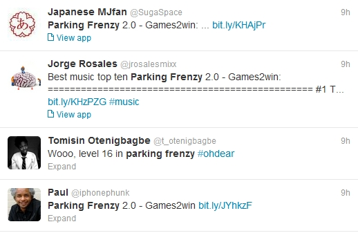 Users Tweeting about Parking Frenzy 2.0