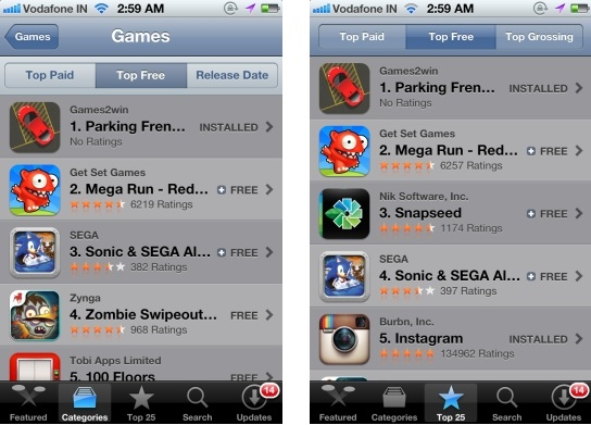 Games2win's Parking Frenzy - No.1 App on USA iTunes in Free Games & Top Free Apps category