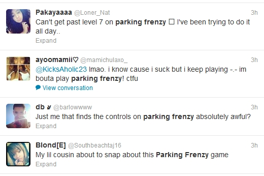 Girls Tweeting about Parking Frenzy 2.0