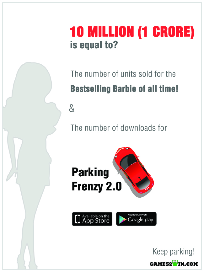 Parking Frenzy's downloads and units sold of the best selling Barbie