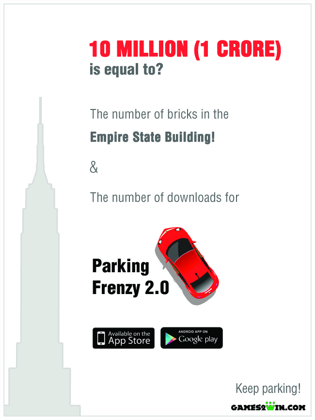 Parking Frenzy's downloads and the number of bricks in the Empire State Building